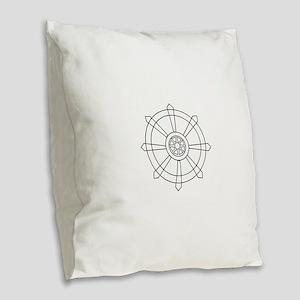 Dharma wheel Burlap Throw Pillow