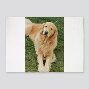 golden retriever on grass reclining 5'x7'Area Rug