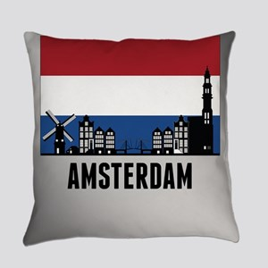 Amsterdam Netherlands Flag Everyday Pillow