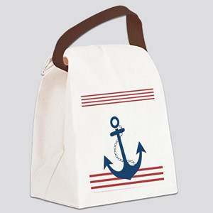 Nautical Striped Design with Anch Canvas Lunch Bag