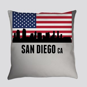 San Diego CA American Flag Everyday Pillow