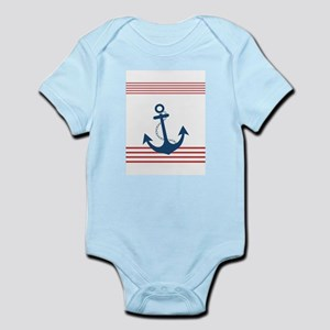 Nautical Striped Design with Anchor Body Suit