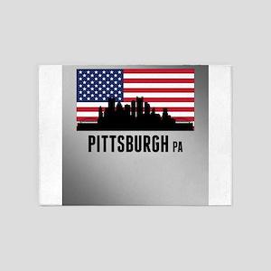 Pittsburgh PA American Flag 5'x7'Area Rug