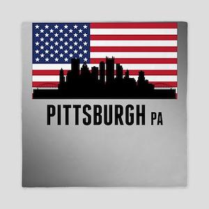 Pittsburgh PA American Flag Queen Duvet