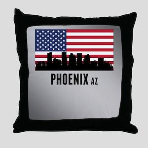 Phoenix AZ American Flag Throw Pillow
