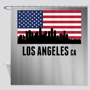 Los Angeles CA American Flag Shower Curtain