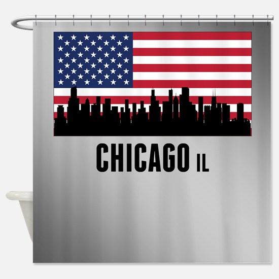 Chicago IL American Flag Shower Curtain