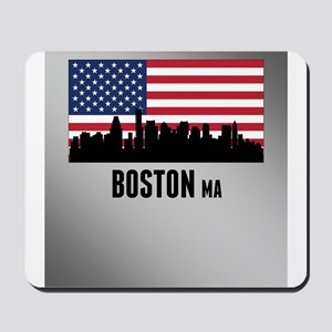 Boston MA American Flag Mousepad
