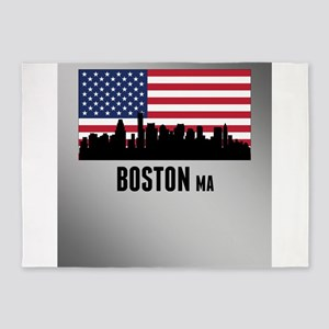 Boston MA American Flag 5'x7'Area Rug
