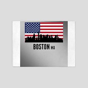 Boston MA American Flag 5'x7'Area Rug