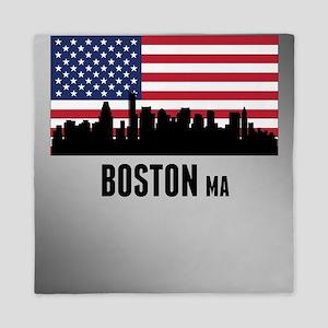 Boston MA American Flag Queen Duvet