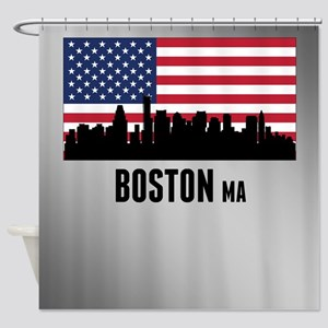 Boston MA American Flag Shower Curtain