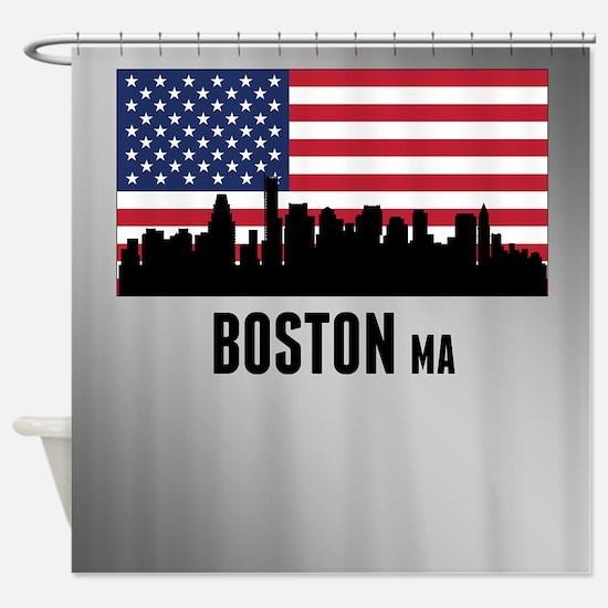 Boston MA American Flag Shower Curtain