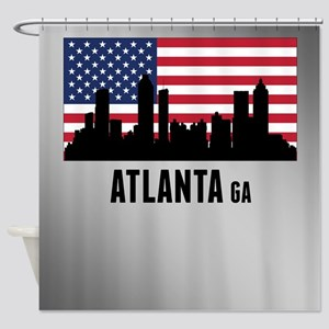 Atlanta GA American Flag Shower Curtain