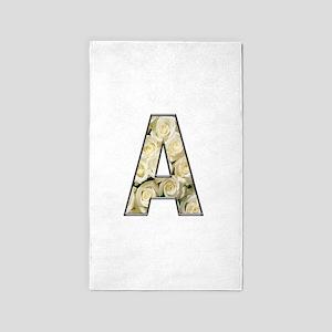 Alphabet A White Roses Area Rug