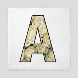 Alphabet A White Roses Queen Duvet