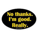 No Thanks Oval Sticker
