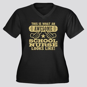 Awesome Scho Women's Plus Size V-Neck Dark T-Shirt