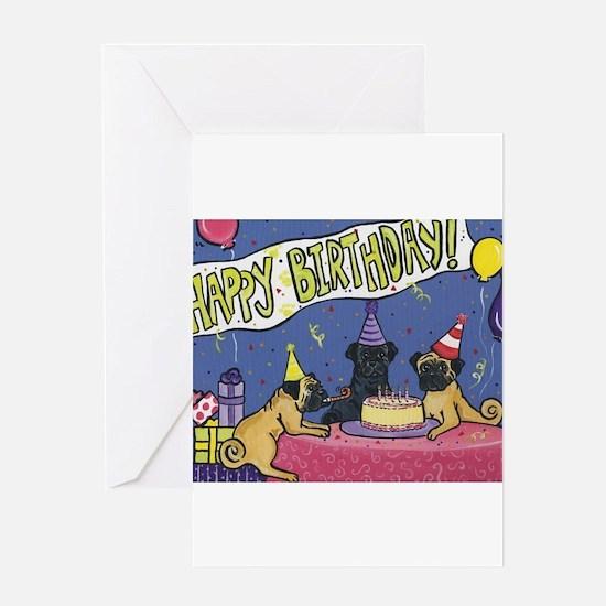 Happy Birthday Pugs Greeting Card
