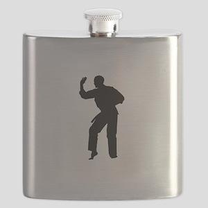 Karate man silhouette Flask