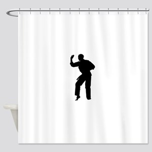 Karate man silhouette Shower Curtain