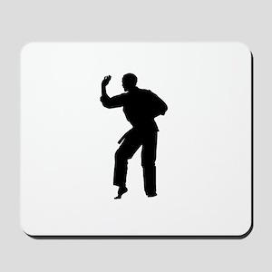 Karate man silhouette Mousepad