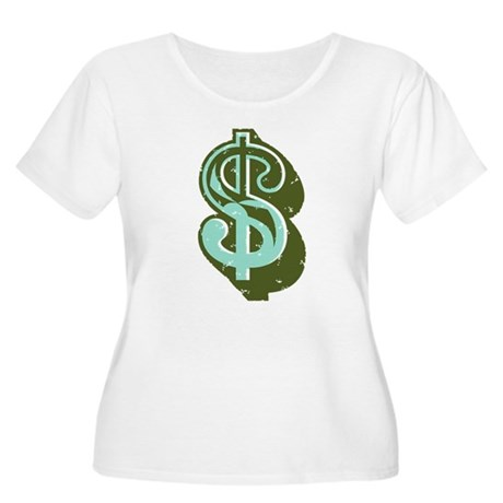 Dollar Sign Women's Plus Size Scoop Neck T-Shirt