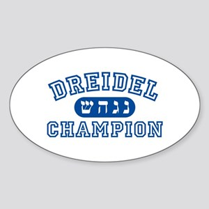 Dreidel Champion Oval Sticker