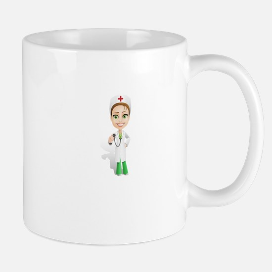 Cartoon Female Doctor Character Holding Steth Mugs