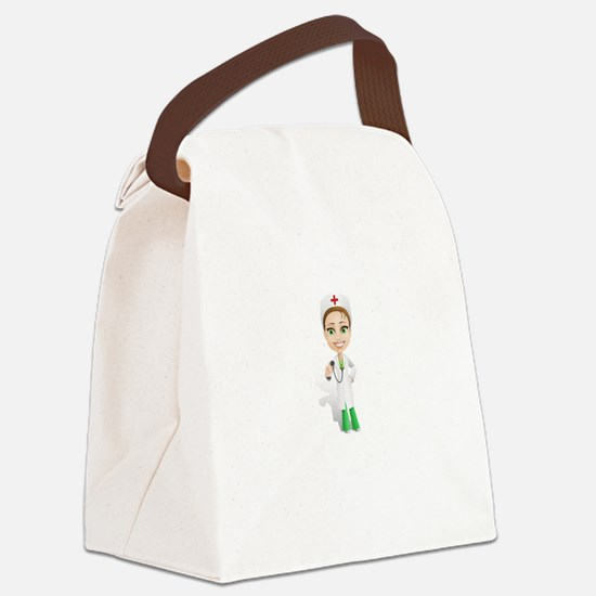Cartoon Female Doctor Character H Canvas Lunch Bag