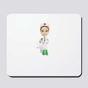 Cartoon Female Doctor Character Holding Mousepad