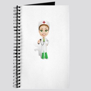 Cartoon Female Doctor Character Holding St Journal