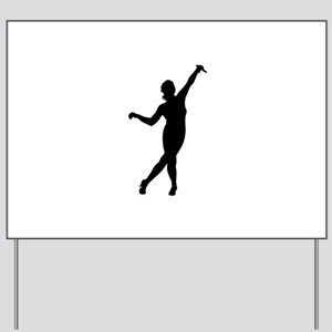 Gymnastic girl silhouette Yard Sign