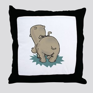 Hippo Rear Throw Pillow