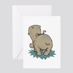 Hippo Rear Greeting Cards