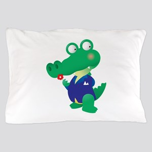 Alligator cartoon with blue shirt Pillow Case
