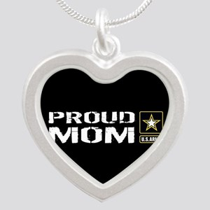 U.S. Army: Proud Mom (Black) Silver Heart Necklace