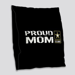 U.S. Army: Proud Mom (Black) Burlap Throw Pillow
