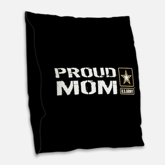 U.S. Army: Proud Mom (Black) Burlap Throw Pillow