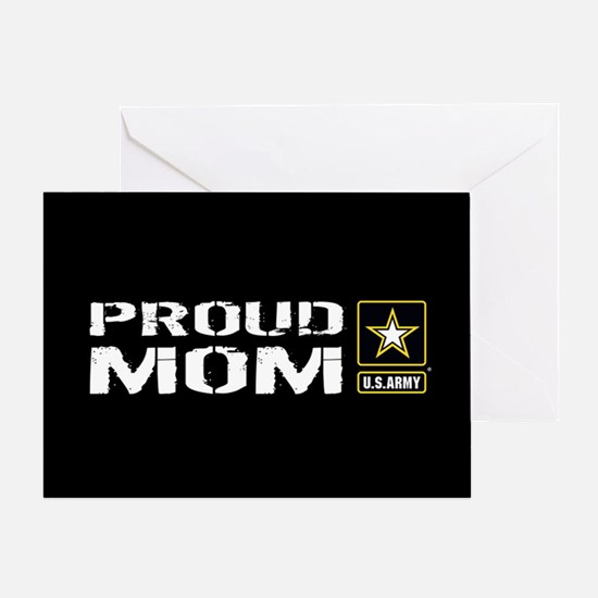 U.S. Army: Proud Mom (Black) Greeting Card