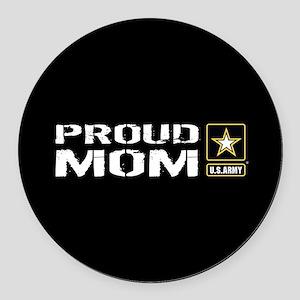 U.S. Army: Proud Mom (Black) Round Car Magnet