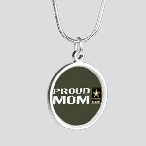 U.S. Army: Proud Mom (Milita Silver Round Necklace