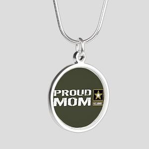 U.S. Army: Proud Mom (Milita Silver Round Necklace