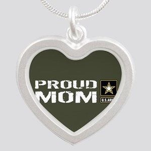 U.S. Army: Proud Mom (Milita Silver Heart Necklace