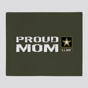 U.S. Army: Proud Mom (Military Green Throw Blanket