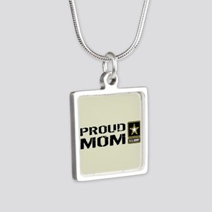 U.S. Army: Proud Mom (Sand Silver Square Necklace