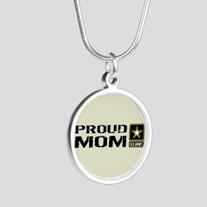 U.S. Army: Proud Mom (Sand) Silver Round Necklace