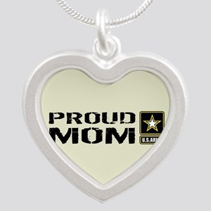 U.S. Army: Proud Mom (Sand) Silver Heart Necklace