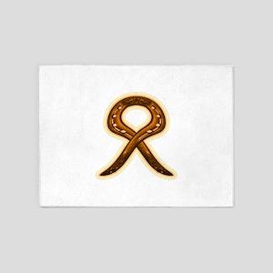 horse shoe orange ribbon 5'x7'Area Rug