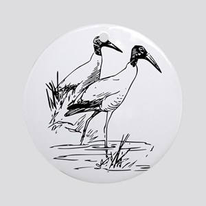 Nayrhcrel wood ibis Round Ornament
